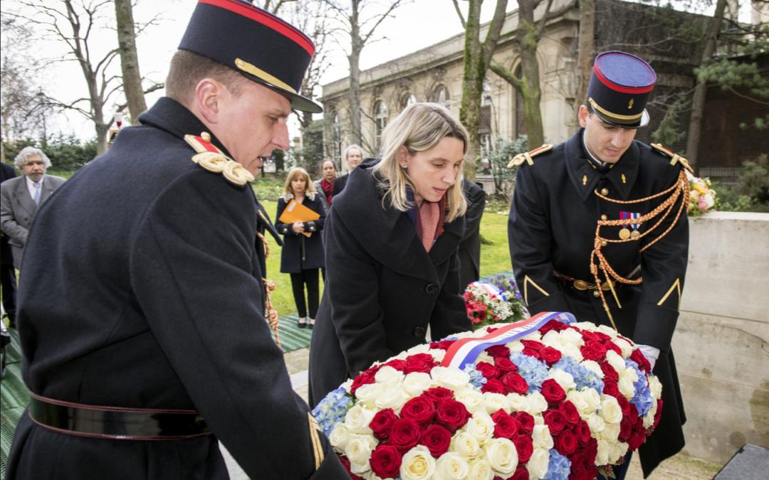Cérémonie hommage aux 7 membres du 1er groupe des Bataillons de la Jeunesse, fusillés le 9 mars 1942.